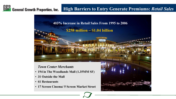 High Barriers to Entry Generate Premiums: Retail Sales